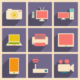 Flat with shadow concept and mobile application. Technology icons Stock Image