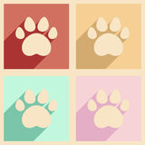 Flat with shadow concept and mobile application traces of animals. Concept and mobile application traces of animals Royalty Free Stock Photography