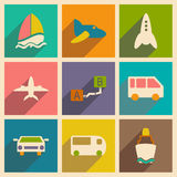 Flat with shadow concept and mobile application. Transports icons Stock Photos