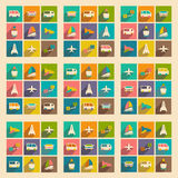 Flat with shadow concept and mobile application. Transports icons Royalty Free Stock Photos