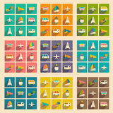 Flat with shadow concept and mobile application. Transports icons Royalty Free Stock Photo