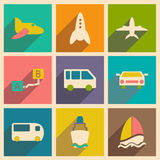 Flat with shadow concept and mobile application. Transports icons Royalty Free Stock Image