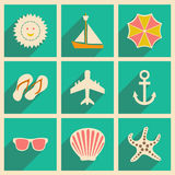Flat with shadow concept and mobile application. Travel icons Royalty Free Stock Images