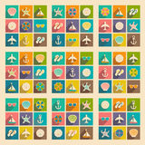 Flat with shadow concept and mobile application. Travel icons Royalty Free Stock Photo