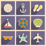 Flat with shadow concept and mobile application. Travel icons Royalty Free Stock Photography