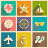 Flat with shadow concept and mobile application. Travel icons Royalty Free Stock Image