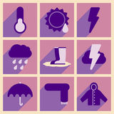Flat with shadow concept and mobile application. Weather Stock Images