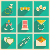 Flat with shadow concept and mobile application. Wedding icons Stock Images