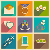 Flat with shadow concept and mobile application. Wedding icons Royalty Free Stock Photography