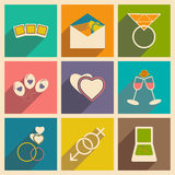 Flat with shadow concept and mobile application. Wedding icons Stock Photo
