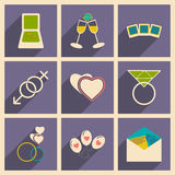 Flat with shadow concept and mobile application. Wedding icons Stock Photos
