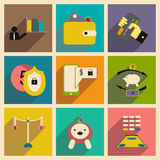 Flat with shadow concept stylish business icons royalty free stock images