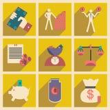 Flat with shadow concept Stylish economic icons Stock Photos