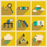 Flat with shadow concept Stylish economic icons Stock Images