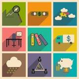 Flat with shadow concept Stylish economic icons Stock Image