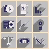 Flat with shadow concept stylish Finance icons. Flat with shadow  concept stylish Finance icons Stock Images