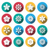 Flat shadow flower icons set. Royalty Free Stock Images