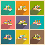 Flat with shadow icon. And houses Royalty Free Stock Image