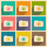 Flat with shadow icon and mobile applacation. Camera Stock Photography