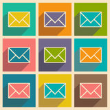 Flat with shadow icon and mobile applacation. Envelope Royalty Free Stock Image