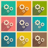 Flat with shadow icon and mobile applacation gears Stock Photography