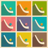 Flat with shadow icon and mobile applacation. Hockey Stock Photography