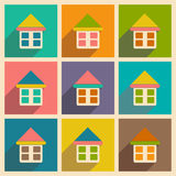 Flat with shadow icon and mobile applacation house Royalty Free Stock Photography