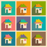 Flat with shadow icon and mobile applacation house Stock Photos