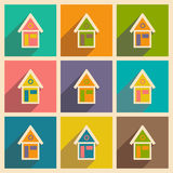 Flat with shadow icon and mobile applacation house Stock Photo