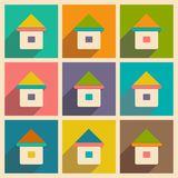 Flat with shadow icon and mobile applacation house Royalty Free Stock Images