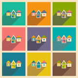 Flat with shadow icon and mobile applacation. Houses Royalty Free Stock Photo