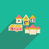 Flat with shadow icon and mobile applacation. Houses Stock Image