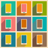 Flat with shadow icon and mobile applacation. Mobilephone Royalty Free Stock Images