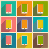 Flat with shadow icon and mobile applacation. Mobile phone Royalty Free Stock Photo