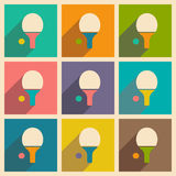 Flat with shadow icon and mobile applacation ping. Pong Stock Images