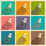 Flat with shadow icon and mobile applacation rings. Heart Stock Images