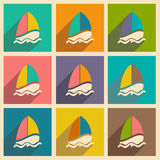Flat with shadow icon and mobile applacation. Sailing boat Royalty Free Stock Photo