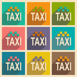 Flat with shadow icon and mobile applacation taxi Stock Photos