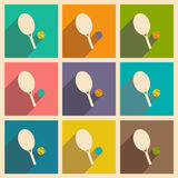 Flat with shadow icon and mobile applacation. Tennis Stock Photography