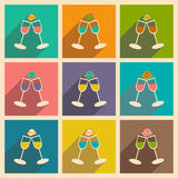 Flat with shadow icon and mobile applacation. Wedding wineglass Stock Photography