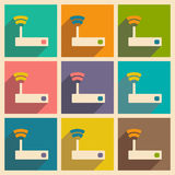 Flat with shadow icon and mobile applacation wifi. Router Royalty Free Stock Images