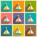 Flat with shadow icon and mobile applacation yacht Stock Images