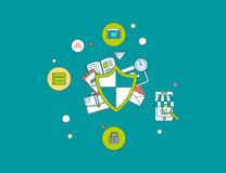 Flat shield icon. Data protection concept Royalty Free Stock Image