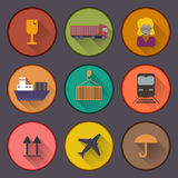 Flat shipping and cargo icon set Stock Photo