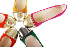 Flat shoes collection isolated. colorful suede ballerina flats Royalty Free Stock Photo