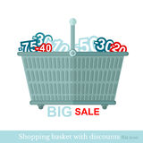 Flat shoping basket with discount Royalty Free Stock Photography