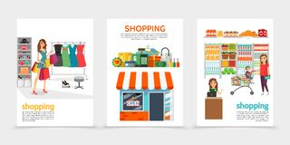 Flat Shopping Brochures Stock Image