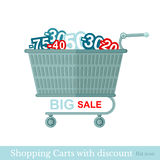 Flat shopping carts with discount Stock Photo