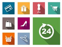 Flat shopping icons Royalty Free Stock Image