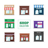Flat shops and stores collection Royalty Free Stock Image